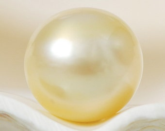 SOUTH SEA PEARL Golden Champagne 10.58 mm off-Round Indonesia 1.66 g un-drilled