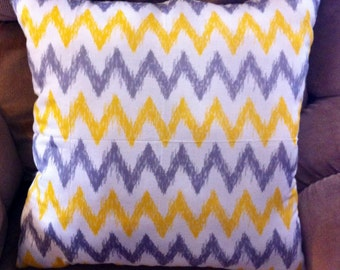 Decorative Throw Pillow, Yellow and Grey Chevron Pillow, Home Decor, Accent Pillow, Chevron Pillow, Decorative Pillow, Throw Pillow