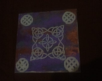 Blue Celtic Theme Painting, 8x8 inch Canvas Panel Painting, Gouache Painted Artwork, Celtic Theme Home or Office Decor, Wall Art