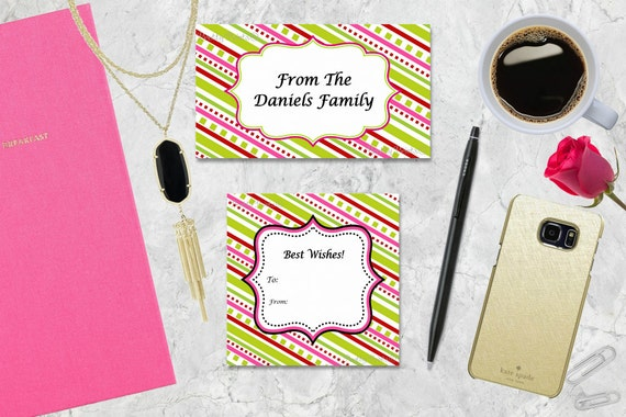 Gift Tags, Red, Pink, Green, Stripes, Tags, Business Cards, Calling Cards, Appointment Cards