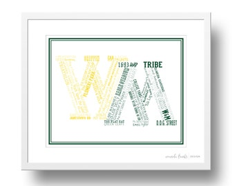 The College of William and Mary (W&M) Typographical/Subway Art Print | 8x10 or 11x14