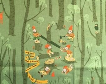 One Yard - LINEN -  Far Far Away III by Heather Ross for Kokka - Snow White on Green