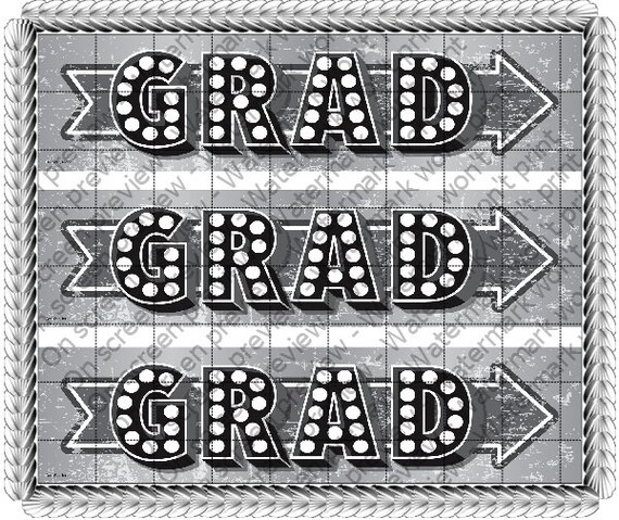 Marquee Graduation - Designer Strips - Edible Cake Side Toppers- Decorate The Sides of Your Cake! - D20690