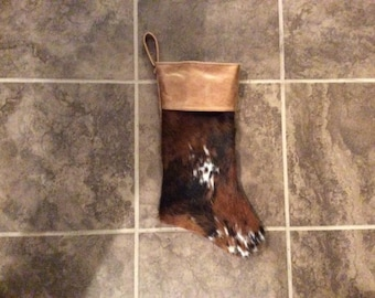 Hair on Cowhide and leather Christmas stocking!