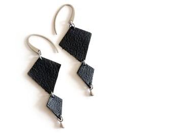 Black geometric large leather earrings , reclaimed black leather double diamond earrings with hypo allergenic surgical grade steel ear hooks