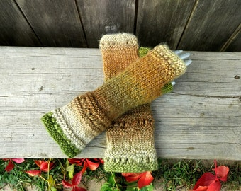 Made to Order! Knit fingerless gloves, arm warmers, fingerless mitts, hand warmers, knit gloves, knit mittens,Brown Beige  Green