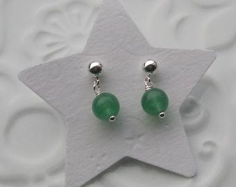 Aventurine semi precious sterling silver earrings