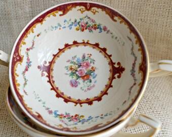 Myott Rose Double handled Soup Bowl // Royal stafordshireand Plate Gold Cream and Magenta Myott English Bine China
