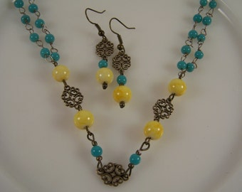 Blue and Yellow Boho Jewelry Set