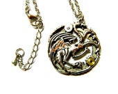 """Unique gift for men, silver colored steam punk jewelry perfect necklace """"Three-headed Dragon captivated digits"""", Ghidorah, giant Monster"""