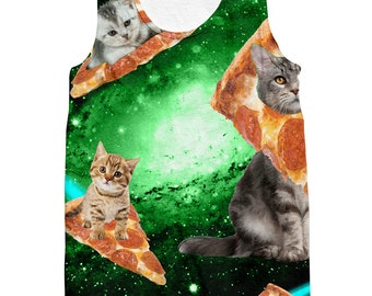 Cat Pizza Galaxy Tank Top