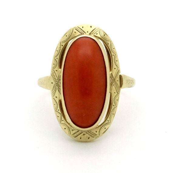 antique coral ring 14k gold ring size 8 25