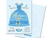 Cinderella Inspired Bithday Party Invitation   2015 Cinderella   Butterfly Cinderella Dress Invite - 5X7 with *bonus reverse side*