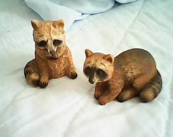 1970s RACOON PAIR ITALY Hand Painted