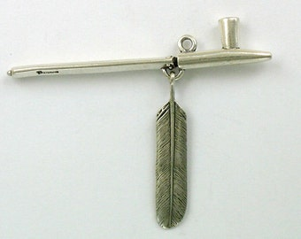 Sterling Silver Peace Pipe w/ Feather Pendant