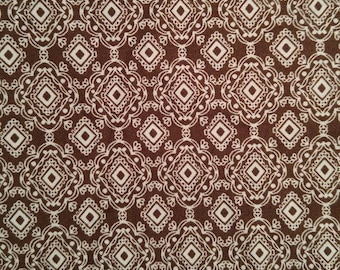 "1 yard, 23"" Brown and White Diamond Fabric"