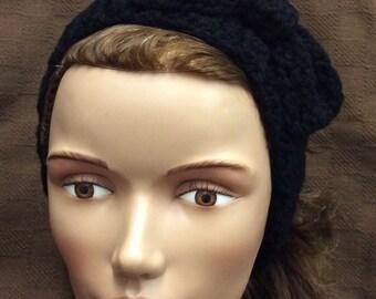 Ear warmer headband, crochet bow headband, black headband, hair accessories, handmade,