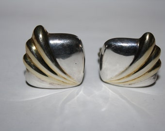Vintage Sterling Silver 925 Art Decco Square Hollow Clip On Earrings