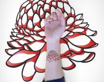 Makeforgood - Blooming Flower Temporary Tattoo / Flower Temporary Art Tattoo / Flora Temporary Tattoo