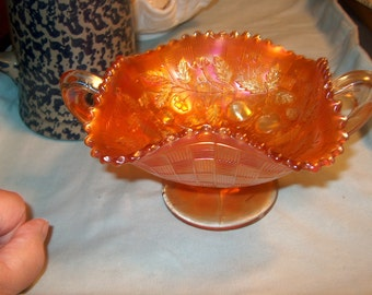 Vintage Carnival Glass Compote, Marigold, small chip on bottom