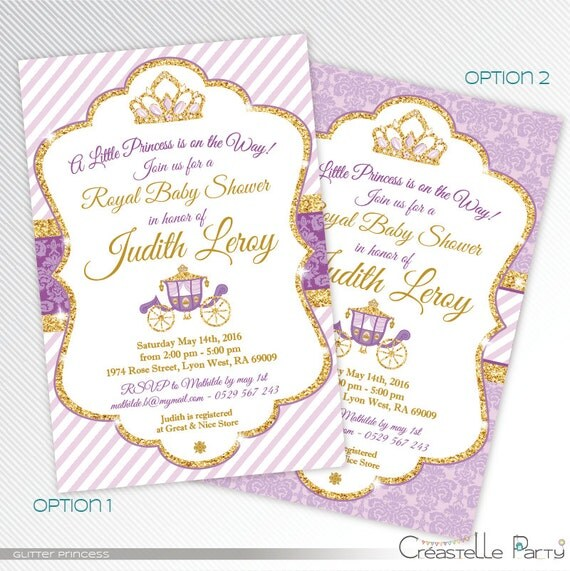 purple and gold glitter princess baby shower printable invitation