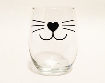 Cat Whiskers Cat Face Stemless Wine Glass / Cat Lover Wine Glass