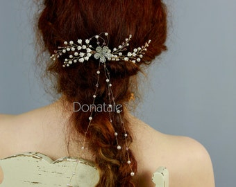 Wedding Hair Piece, Bridal headpiece, Wedding Hair comb ,Bridal hair comb, Bridal hair vine,Rose  Gold blush Headpiece - LILY of THE VALLEY