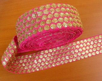 9 meters. Border, lace,  embroidered, circle design in pink and golden color. (355 inches approx.).