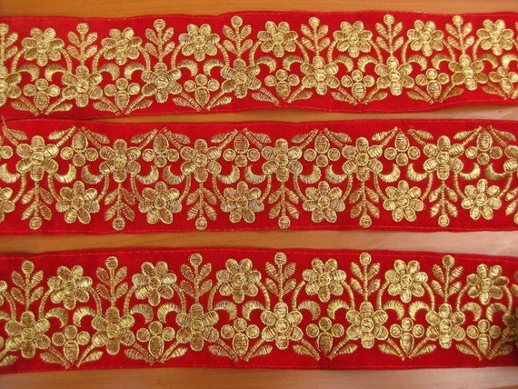Meters embroidered velvet lace border floral design