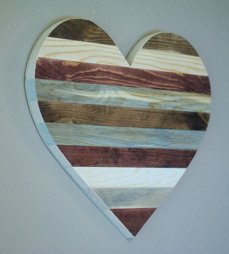 wooden heart valentines day gift rustic home decor rustic