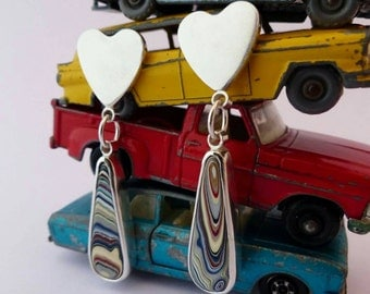 Contemporary Fordite Heart Earrings