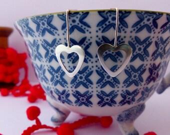 Contemporary Heart Drop Earrings