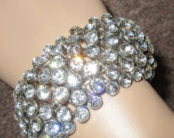 Vintage 1940's Diamante Bracelet - VERY Wide, VERY Sparkly, VERY Party!!!!