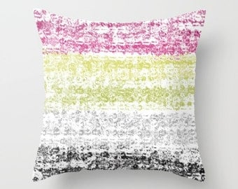 Abstract Pillow Cover Pink Grey Yellow Fuschia Modern Home