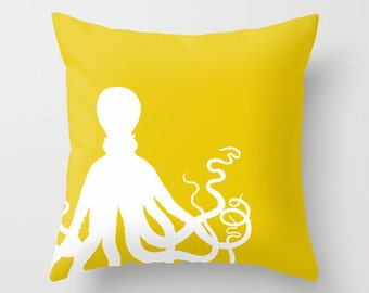 Throw Pillow Cover Octopus Pillow Cove Mustard Yellow Pillow Cover Accent Pillow Cover Decorative Pillow Cover Beach Home Decor