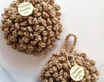 Ultimate Non-Abrasive Dish & Pot Scrubby, Crochet Poofy Scrubbies, Tawashi dishcloth, Bath Puff, Scrubbers. 2pcs. Set.