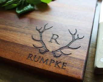 Personalized Cutting Board, Fathers Day Gift, Gift For Dad, Husband Gift, Brother Gift, Antlers, Personalized Mens, Gifts For Him, Boyfriend