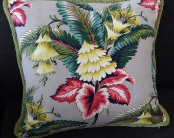 Spectrum Tropical Barkcloth Pillow Authentic 40's New Old Stock Upholstery Velvet & Zipper