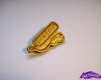 Nintendo Wii Game Controller laser cut Brooch Pin