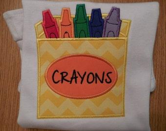 Box of Crayons School Applique