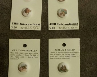 Vtg Collection 4 Cards Beatrix Potter Buttons 1980's #4