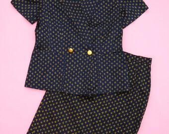 ESCADA Vintage Star Print 2 Piece Suit