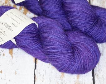 Hand Dyed DK Superwash Merino Wool Yarn in Deep Purple Monochrome