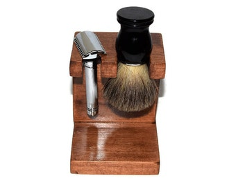 Safety razor and shaving brush stand, Knotty Alder custom wood with up to 5 slots for razor and up to 5 slots for brushes