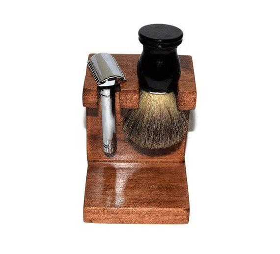 Safety Razor And Shaving Brush Stand Knotty Alder Custom Wood