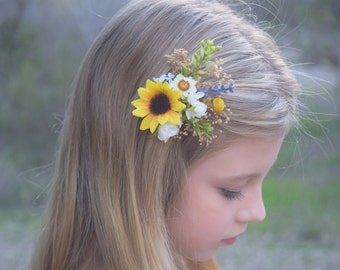 Sunflower & Lavender Hair Clip - beautiful hair clip with natural gypsophila, sunflower, floral buttons, and greenery - wedding hair clip