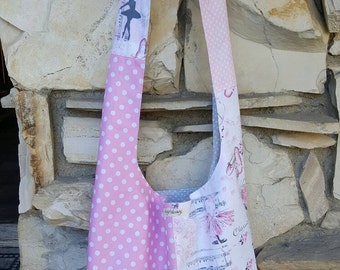 Ballerina and polka dots across the body hobo bag.  Reversible hobo bag,  slouch bag, boho bag,  dance bag, Ballerina bag, Ballerina hobo.
