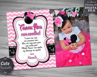 MINNIE CHEVRON Thank you card, Minnie Chevron, Thank you card, Minnie Mouse Thank you, Minnie Thank you