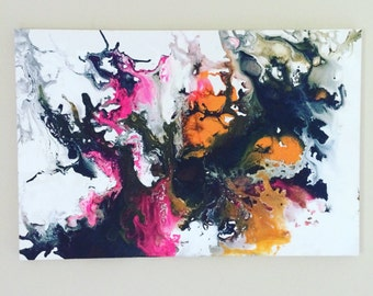 Abstract XL Canvas Aurora Borealis Art Splatter Painting Neon Orange Pink Art Large Wall Hanging Pop Art Graffiti Painting 24 x 36 canvas