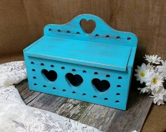 Wooden Box, Shabby Chic Box, Turquoise Wood Box, Turquoise, RobinsStudio, Heart Box, Recycled Box, Vintage Box, Rustic, Cottage, Country